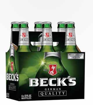 Beck's - $10.79 German Pilsner. Spicy herbal and floral aromas with a citrus-like zest and hoppy bitterness. 5.0% ABV