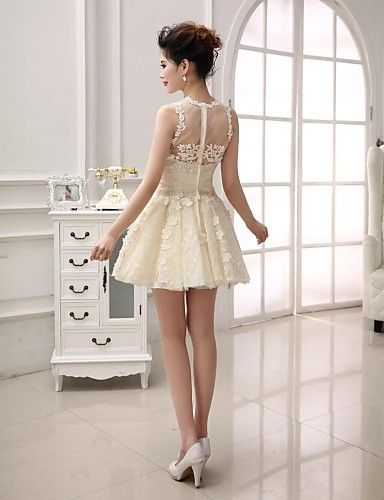 Cocktail Party/Prom Dress A-line Jewel Short/Mini Lace Dress – USD $ 89.99