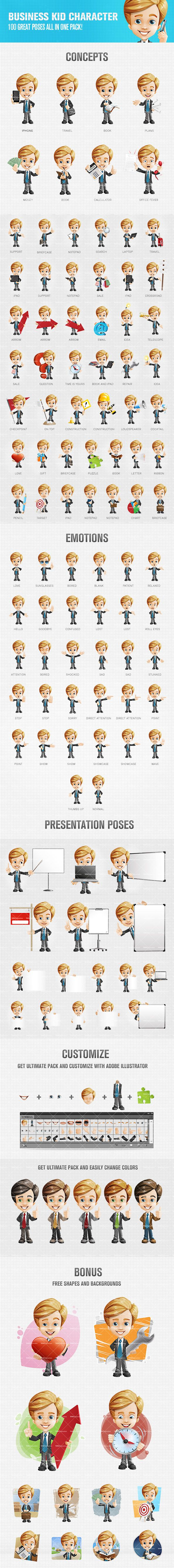 Business kid cartoon character that will help you to present your products or services in an attractive and memorable way. We have created a set of 100 various poses, each one of them filled with life and energy. You will receive also 12 extra bonus shapes and backgrounds that are ready to be used instantly. Check it now! Continue reading →