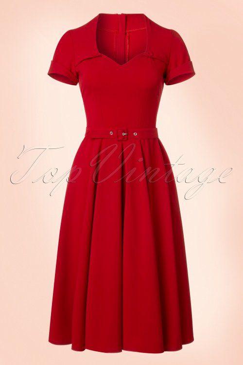 Miss Candyfloss Red Swing Dress jurk rood jaren 50 stijl 1950s vintage retro look