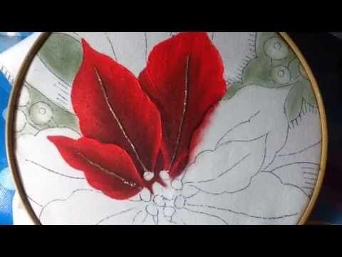 Pintura en tela nochebuena rosa #1 con cony - YouTube