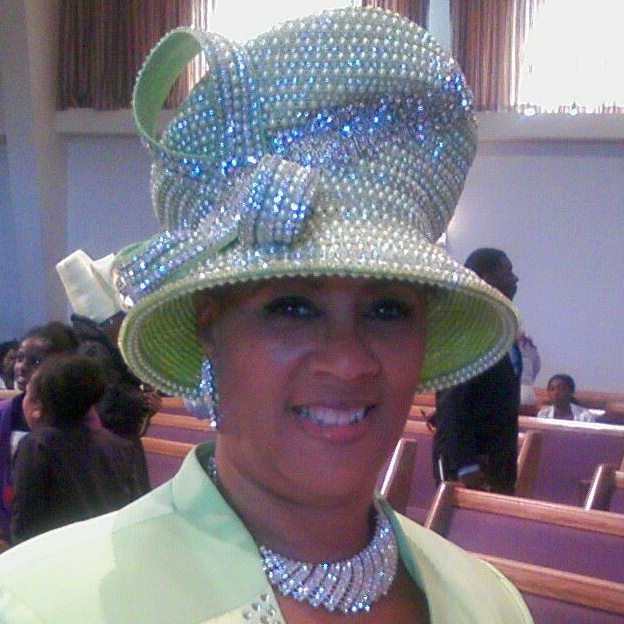 Mint green beaded hat