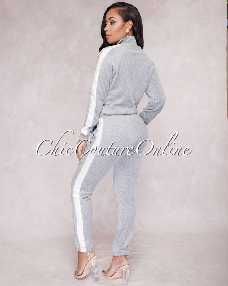 Chic Couture Online - Marina Heather Grey Side Stripe Track Suit,  (http://www.chiccoutureonline.com/marina-heather-grey-side-stripe-track-suit/)