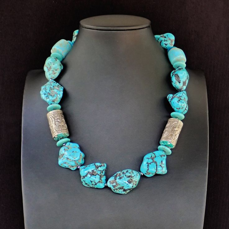 Necklace with turquoise Hawlite chunks, thai silver with embodied turquoise & dark silver marquise clasp. Statement, handmade,gemstone,OOAK by Menir on Etsy