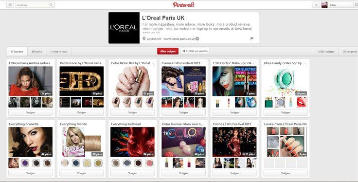 L'Oréal Paris UK probeert zoveel mogelijk te communiceren met haar volgers om het merk in de picture te zetten. Ze tonen hun nieuwe producten, maar ook hun ambassadeurs, nieuwe trendy kapsels, het filmfestival van Cannes...   #multimedia1 bron:http://www.pinterest.com/lorealparisuk/