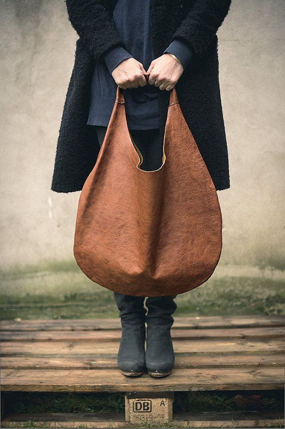 Brown Aged Leather Hobo Bag every day bag tote bag by patkas W 48 cm x H 57 cm.(18,89 in 22,44 in )