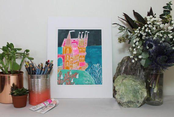 Fairytale Castle Gouache Painting Original Illustration by Clay Horses
