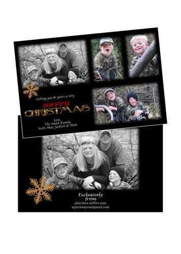 Holiday Christmas Photo Cards Add Photo(s) Any Colors Gold Glitter