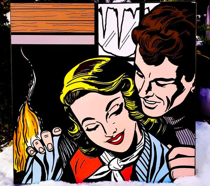 Baby its cold outside mid century 1950s pop art