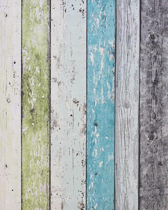 Steigerhout Vliesbehang Blauw/Groen bij Behangwebshop
