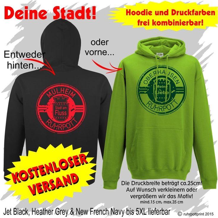 Ruhrpott - Städte  Hoodie / Kapuzenpullover mit Flexdruck individuell gestaltbar #hoodie #pulli #shirt #liebe #love #druck #individuell #print #deins #black #ruhrpottprint #warm #ruhrpott #stadt #Pullover  #oberhausen #duisburg #dortmund #mülheim #gelsenkirchen #essen #bottrop