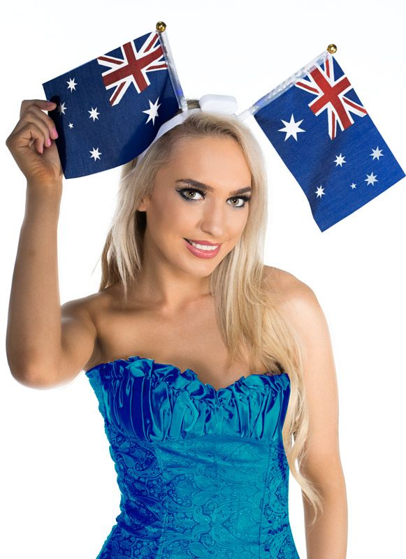 Get flashing at your next Aussie sporting event with this cool light up headband. Find this cute Australian flag item now on http://www.heavencostumes.com.au/flashing-australia-day-flags-headband.html