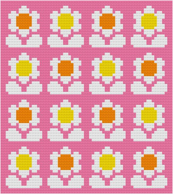 Cross Stitch Pattern, 'Flower Pop' PDF. Inspired by the floral designs found on vintage fabric and wallpaper of the 1960s and 70s, this pattern