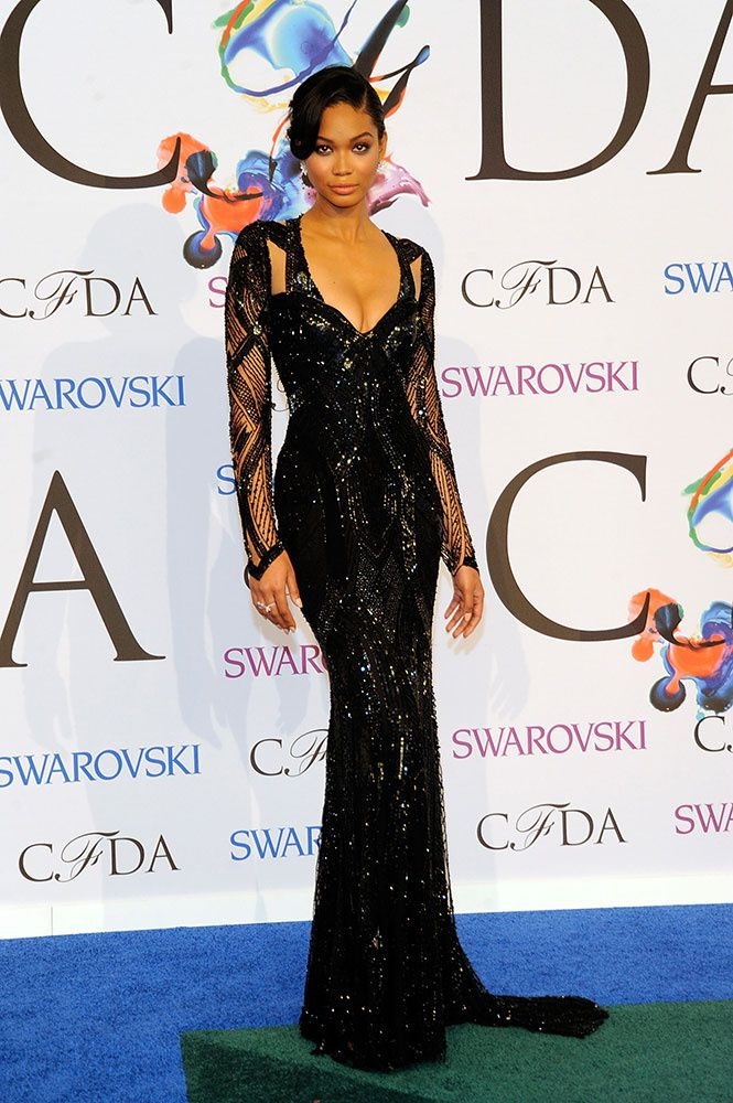 Chanel Iman in Monique Lhullier at the CFDA Awards 2014.