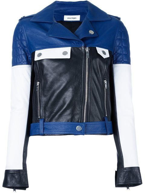 Shop Courrèges colour block biker jacket in Stefania Mode from the world's best independent boutiques at farfetch.com. Shop 400 boutiques at one address.