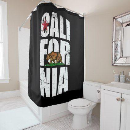 California Bear Flag Shower Curtain - shower gifts diy customize creative