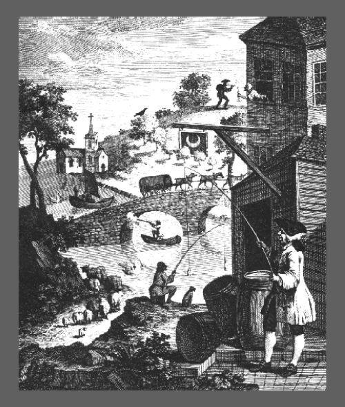 "William HOGARTH, ""Satire on false perspective"", gravure sur cuivre, 1754."
