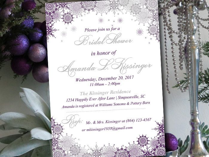 winter bridal shower invitation template snowflake wedding shower template ornate snowflakes eggplant silver bridal shower in 2018 cakes pinterest