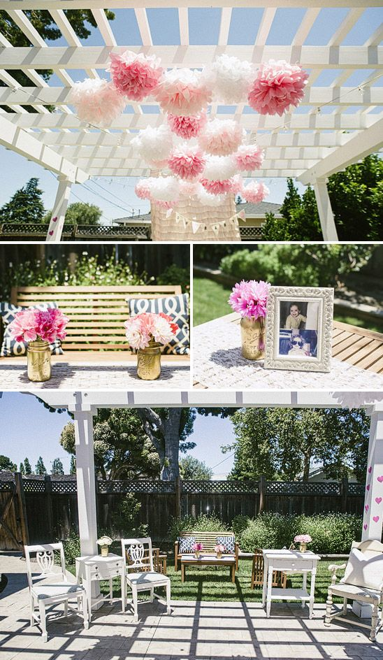 Pretty pink and gold baby shower - Love the picture of the