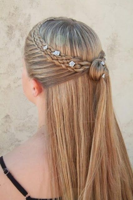 118 best tape in hair extensions images on pinterest make up five strand lace braid into half updo pmusecretfo Choice Image