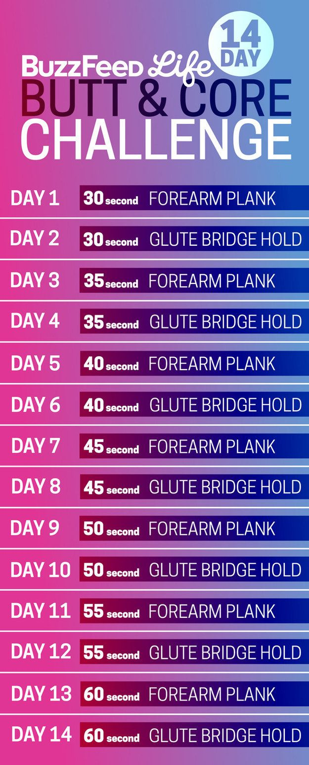 And here's your daily schedule: | Take BuzzFeed's 14-Day Butt And Core Challenge