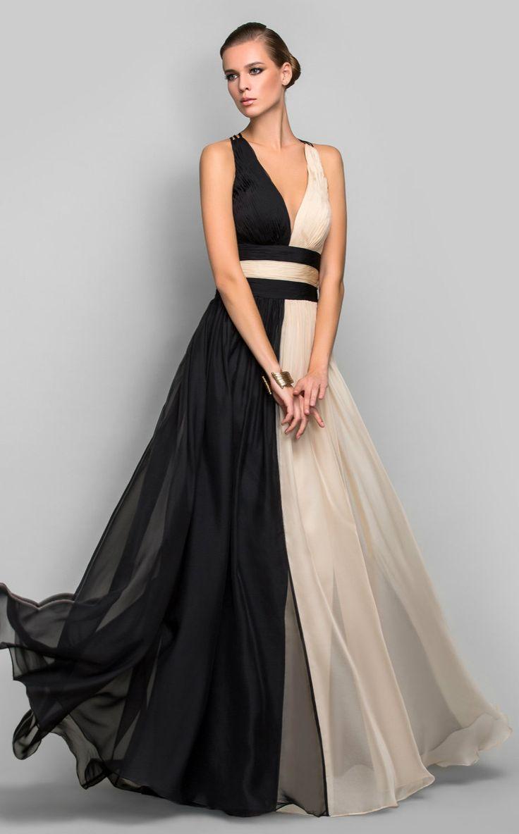 Vestido de Noche Largo para Mujer de Gasa en Corte A con Cuello en V - EUR € 99.99