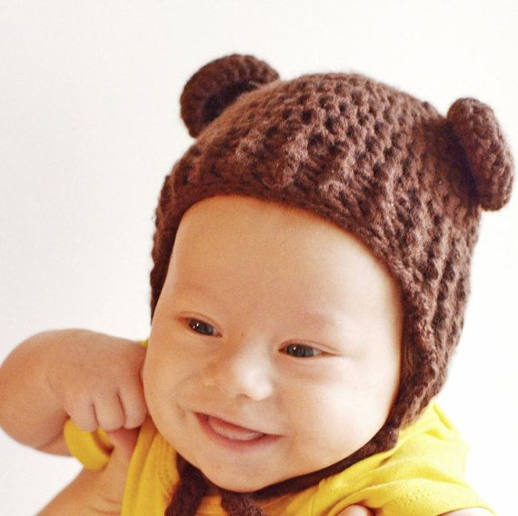 Brown Bear Baby Hat with Ears Crochet Animal by OneHatStore