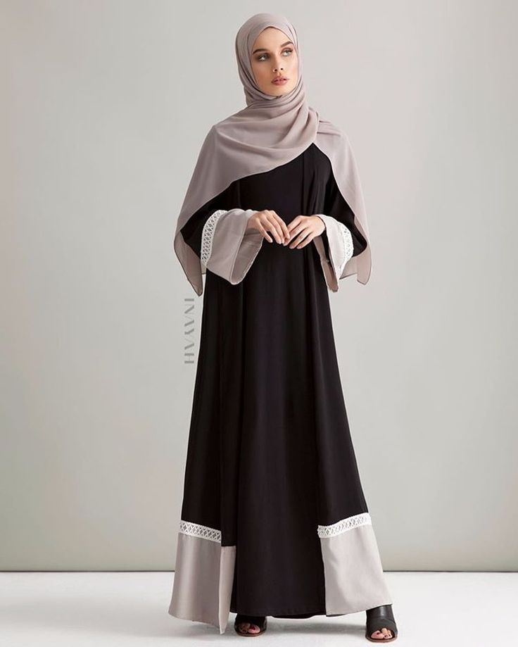 High fashion, minimal cuts and uncompromising quality; indulge in our new kimono collection. Black Colour Block Kimono with Lace Taupe Soft Crepe Hijab www.inayah.co