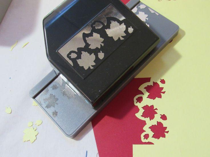 ek sucess maple leaf border punch card making scrapbooking