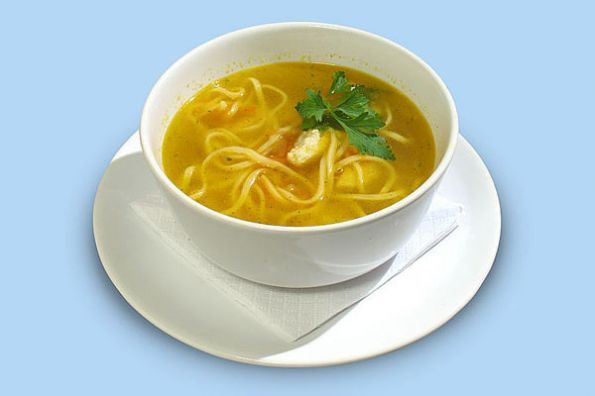 Chicken soup with noodles (Суп куриный с вермишелью)