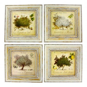 """French  Vintage Framed postcards from painting  """"Provence Trees """" - set of 4 -"""