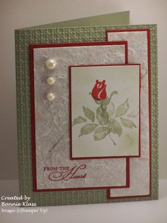 I like the layout on this card. And the embossed background.