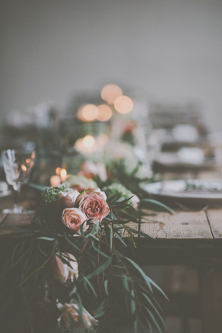 Fresh Flower & Foliage Table Runner - Image by James Melia - Bohemian Bride Inspired Wedding Shoot At The Arches Dean Clough Halifax With Rustic Wild Flowers And Delicious Food From Eat Me Drink Me With Images From James Melia Photographers