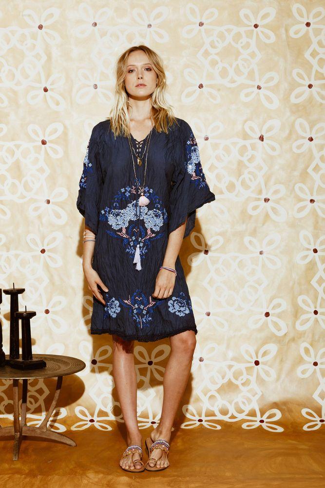 Ruby Yaya | RY Summer 17 Blue embroidered dress. #summermood
