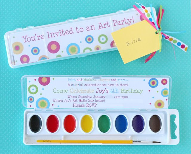Invite Idea: design the party invitations to fit inside a standard watercolor paint set