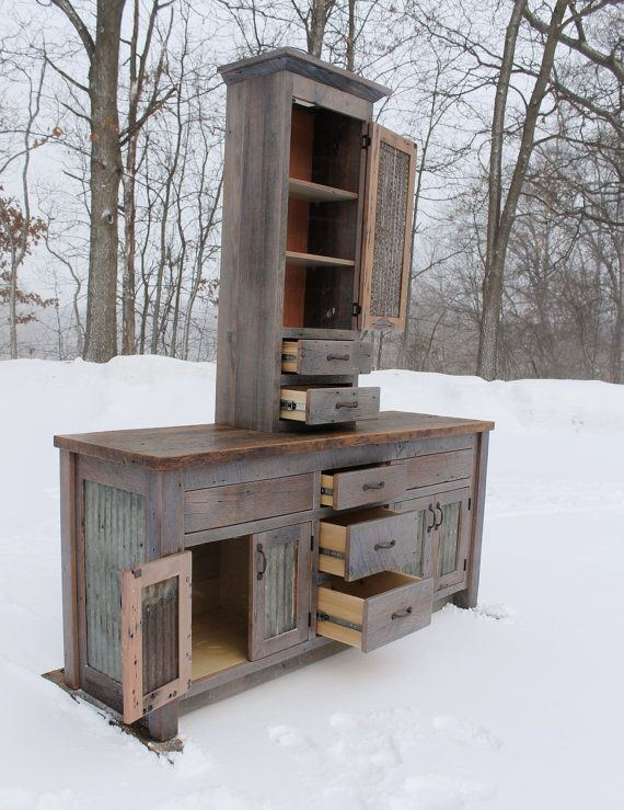 Rustic Bathroom Vanity Linen Cabinet Reclaimed Barn Wood