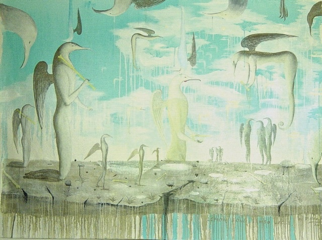 Bill Hammond 2002  Lemon Bone Limbo Ledge  Oil on Canvas  1600mm x 2200mm