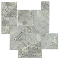 Claros Silver Brushed Chiseled Small Versailles Pattern Travertine Floor Tile $11.99 Sq Ft     			 					Coverage 8.99 Sq Ft per  Box