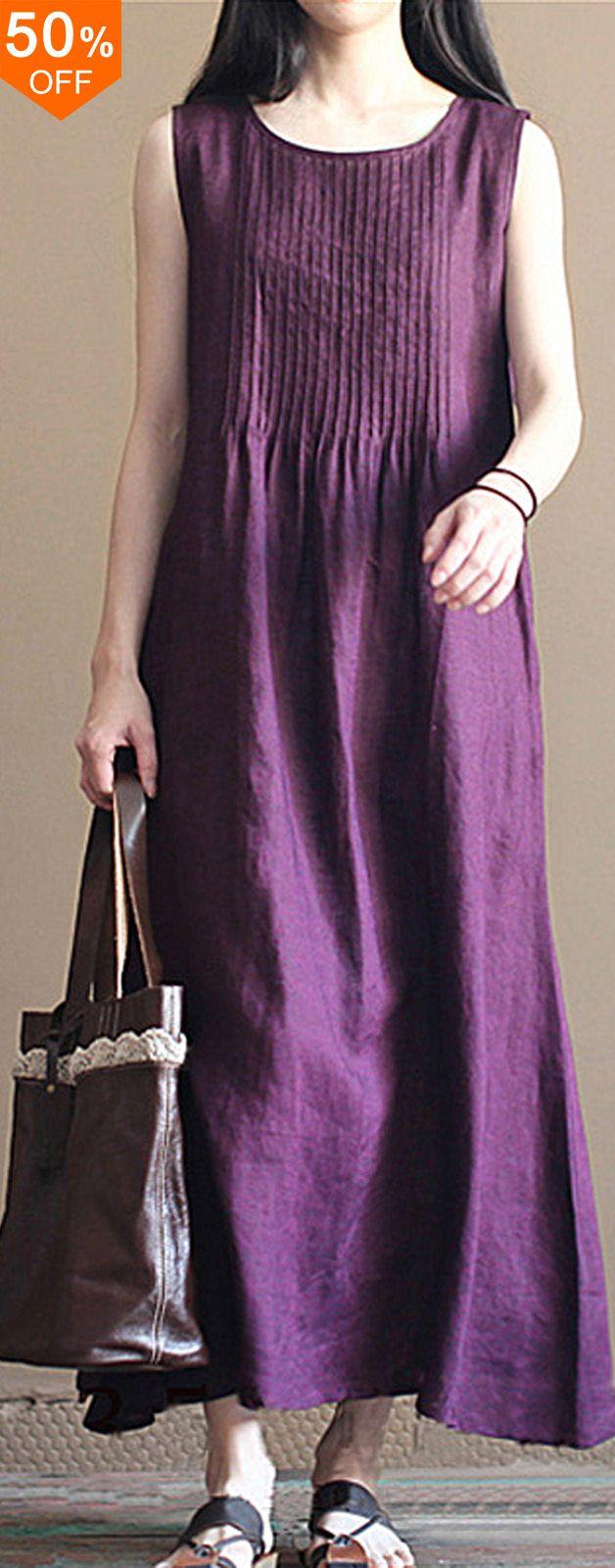 Casual Women Pure Color O-Neck Pleated Cotton Maxi Tank Dress. #women #dress #2018