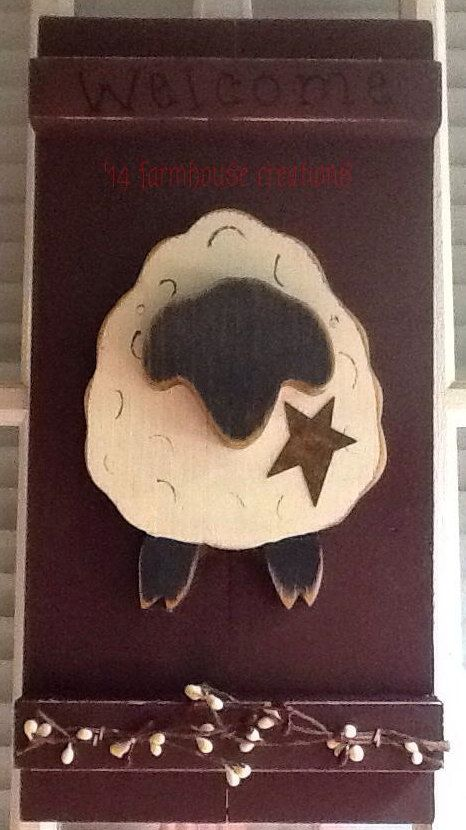 Primitive  Sheep Welcome Sign  Country Home by farmhousecreations1, $19.95