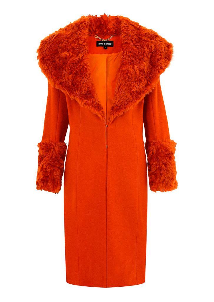 Orange Fur Collar Coat – House of Holland