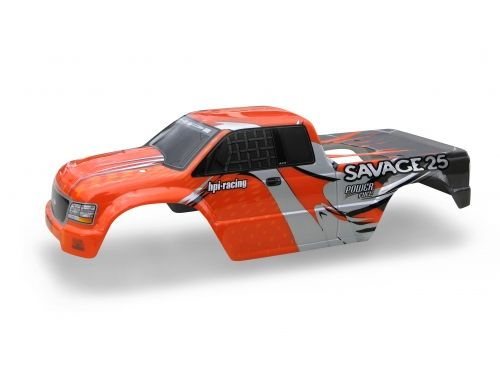 HPi GT-1 Truck Painted Body Savage (Red/Silver/Grey) At the request of our customers the stock Savage 25 pre-painted body is now available as a replacement part for any Savage truck. This body is complete and ready to bolt on the truck