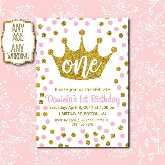 1st Birthday Invitation Princess Crown