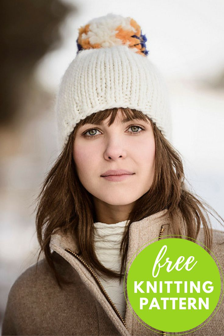 Big Pom Hat Free Knitting Pattern