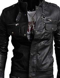 chaqueta de cuero casual, de manga larga de color marrón negro de los hombres