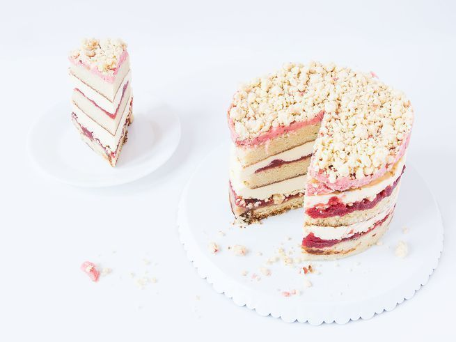 This special occasion dessert is a tower of vanilla cake, cheesecake, strawberry jam and frosting, lemon curd, and Milk Bar's signature milk crumbs.