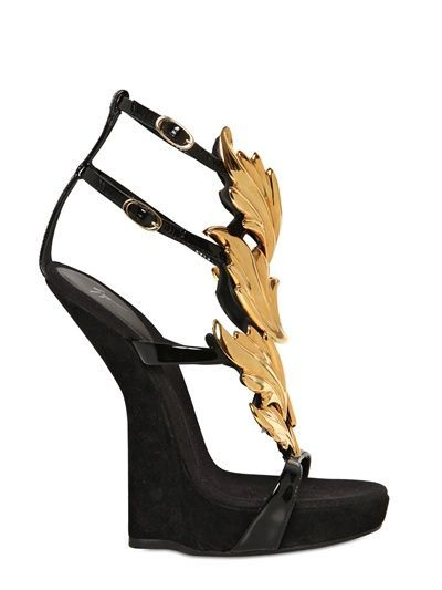 9a645c6a5861 GIUSEPPE ZANOTTI - 150MM SUEDE LEAVES SCULPTURAL WEDGES - LUISAVIAROMA -  LUXURY SHOPPING WORLDWIDE SHIPPING - FLORENCE