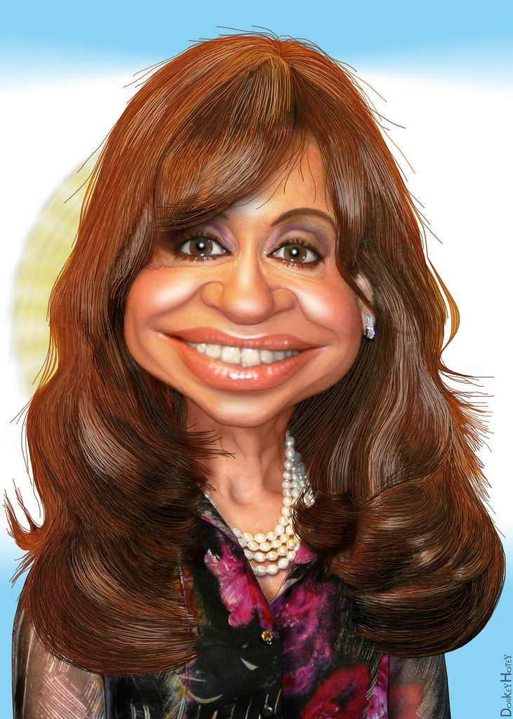 https://flic.kr/p/9MdcxU | Cristina Kirchner - Caricature | Cristina Elisabet Fernández de Kirchner, aka Cristina Kirchner, is the 55th President of Argentina.  The source image for this caricature of Argentine President Cristina Kirchner is a Creative Commons licensed photo from Embajada de EEUU, Buenos Aires's Flickr Photostream.