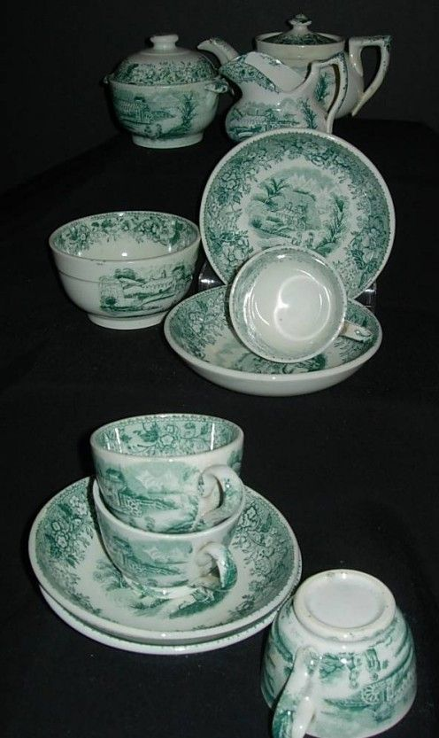 Exquisite antique porcelain children's tea set made in Scotland in 1840 by David Methven and Sons.