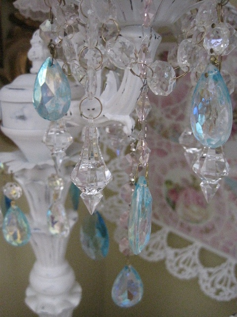 aqua blue crystals on my table chandelier